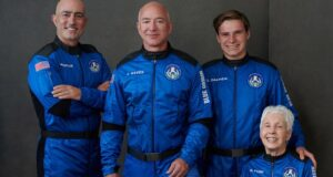 Jeff Bezos and 3 others take maiden flight to space on Blue Origin's New Shepard